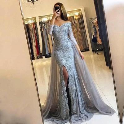Lace-Appliques Long-Sleeve Newest Mermaid Sweetheart Front-Split Prom Dress_2