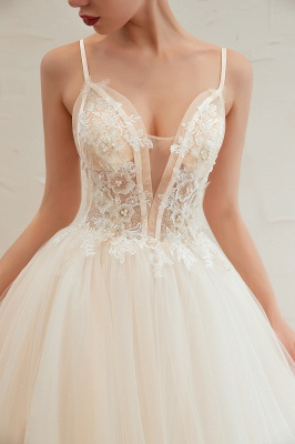 Gorgeous Spaghetti Straps V-neck Floor Length A-line Lace Tulle Wedding Dresses_17