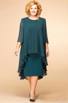 Elegant Chiffon Jewel 3/4 Sleeves Tea Length Mother of Bride Dress_2