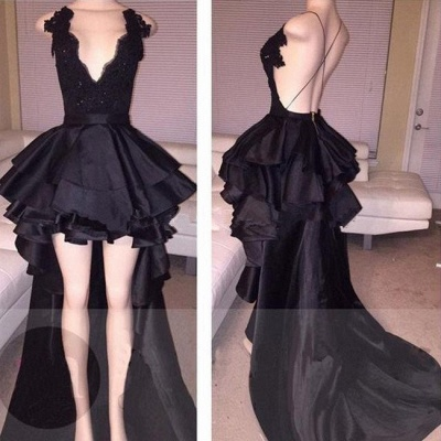 Hi-Lo Lace Layered Sexy Short Cocktail Black Prom Dress_3