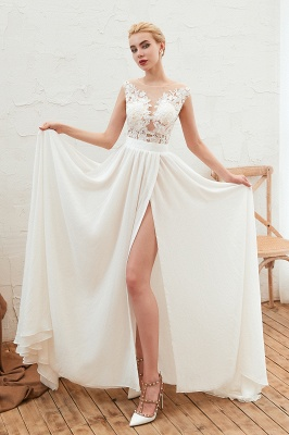 Jewel Cap Sleeves Sheer Sweep Train A-line Appliques Chiffon Wedding Dresses_8