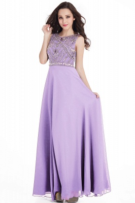 Sheath Jewel Crystals Floor Length Long Chiffon Cheap Prom Dresses_5