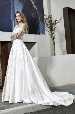 Elegant Appliques Off the Shoulder Sweetheart Lace Wedding Dresses_11