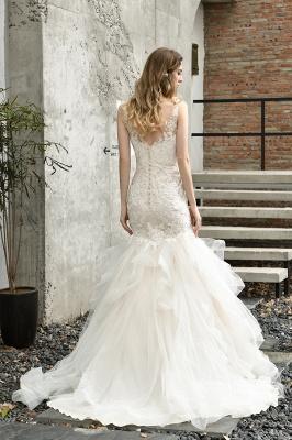Cheap Floor Length Mermiad Sweetheart Lace Wedding Dresses_8