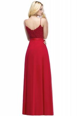 Spaghetti Straps V-Neck Chiffon Lace Evening Dress On Sale_7