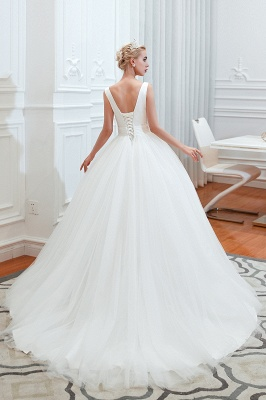 Elegant Floor Length V-neck Straps Belted A-line Tulle Wedding Dresses_12