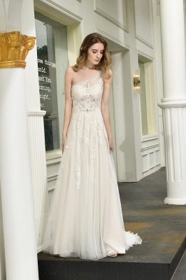 One Shoulder Tulle Sexy A-Line Lace Wedding Dress_7