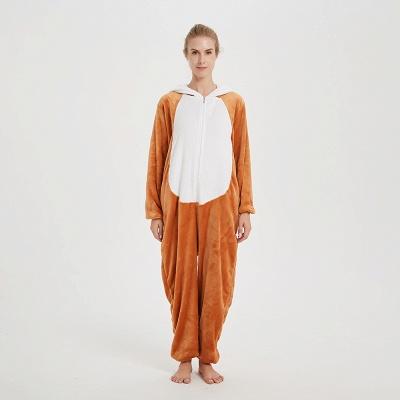 Cute Sleepwear for Women Brown Hoodie Onesies_1