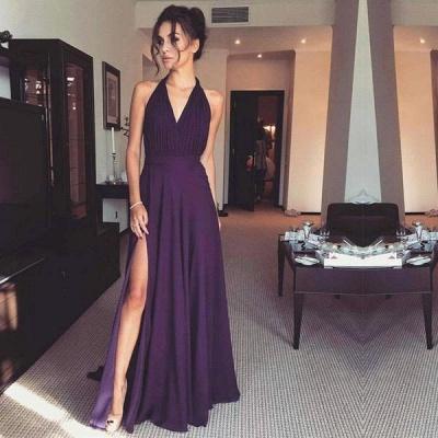 Chiffon Front-Split A-line Long Modern Halter Prom Dress_2