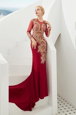 Gorgeous Form-fitting Long Sleeves Floor Length Prom Dresses | Long Beaded Evening Dresses_8