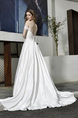 Elegant Appliques Off the Shoulder Sweetheart Lace Wedding Dresses_3