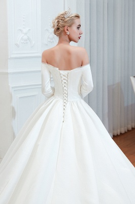 Gorgeous Off the Shoulder Half Sleeves Floor Length A-line Satin Wedding Dresses_9