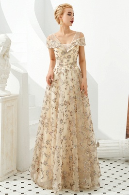 Glamorous Cold-Sleeves A-line Long Lace Prom Dresses |  Floor Length Evening Dresses_6