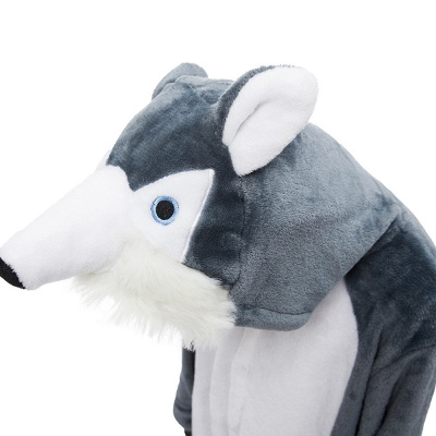 Cute Animal Pyjamas for Boys Huskie Onesie, Dark Grey_5