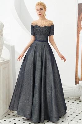 Glamorous Round Neckline Short Sleeves Beaded Belt A-line Floor Length Prom Dresses_2