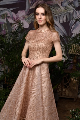 Champagne High Neck Short Sleeve Sequined A Line Prom Dress   Tea Length Ruffles Evening Gown_11