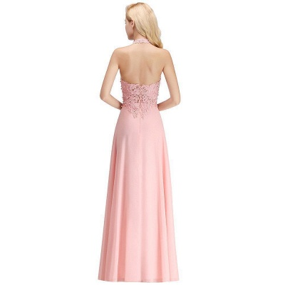 Cheap A-line Halter Chiffon Lace Bridesmaid Dress with Beadings in Stock_17