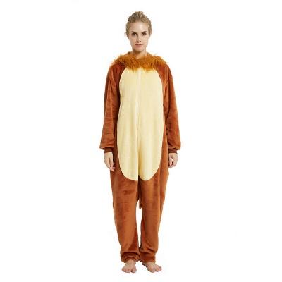 Cute Animal Pyjamas for Women Lion Onesies, Brown_19