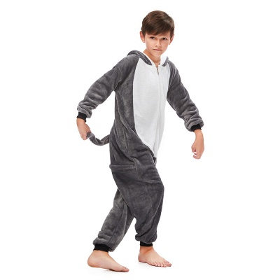 Lovely Pajamas Sleepwear for Boys Huskie Onesie, Grey_3