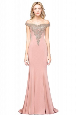 Simple Off the Shoulder Appliques Fitted Floor Length Evening Gown_13