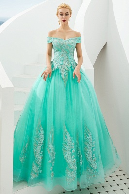 Glamorous Off the Shoulder Sweetheart Applique A-line Floor Length Prom Dresses_18