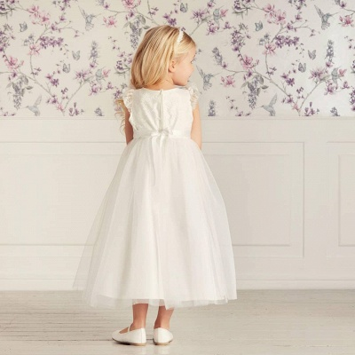 Jewel Cap Sleeves Tea Length Ribbon Belt Lace Tulle Flower Girl Dresses_2