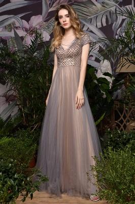 Elegant Short Sleeve Beading Floor Length a line prom dresses  Scaoop cheap graduation dress_4