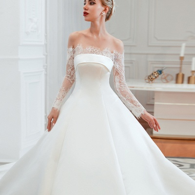 Off the Shoulder Long Sleeves Lace Up Floor Length A-line Lace Wedding Dresses_12