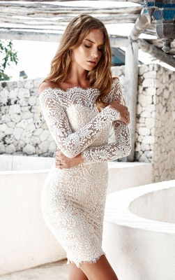 Cocktail Long-Sleeve Short Mermaid Simple White Party Dresses BH353_3