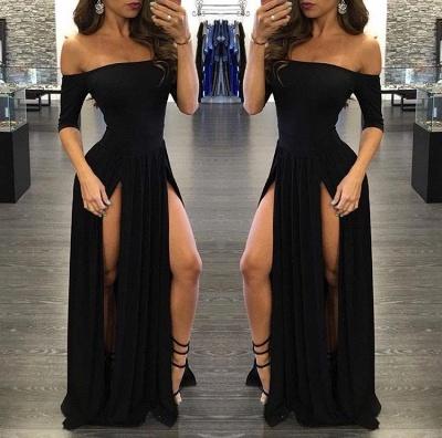 Off-the-shoulder Half-Sleeve  Sexy Black Split Prom Dress_2