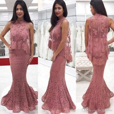 Floor-Length Lace Cute-Pink High-neck Mermaid Prom Dress_2