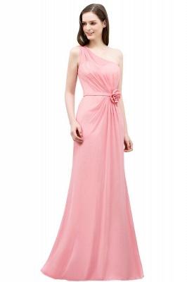 Mermaid Floor Length One-shoulder Ruffled Chiffon Bridesmaid Dresses with Flower_1