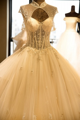 Glamorous High Neck Lace-up Tulle Wedding Dress | Haute Couture Bridal Gowns Series_7