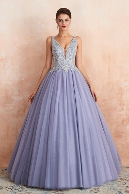 Straps V-neck Sexy Applique Long Prom Dresses | Glamorous Puffy Evening Dresses_4