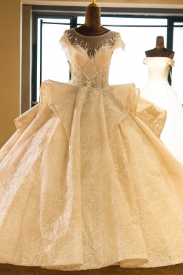 Luxury Cap Sleeve Appliques Tulle A-line Wedding Dress | Haute Couture Bridal Gowns Series_1