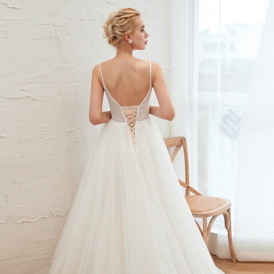 Elegant Spaghetti Straps Lace Up A-line Floor Length Lace Tulle Wedding Dresses_15