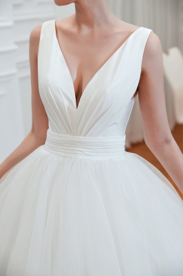 Elegant Floor Length V-neck Straps Belted A-line Tulle Wedding Dresses_5