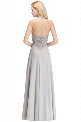 Cheap A-line Halter Chiffon Lace Bridesmaid Dress with Beadings in Stock_21