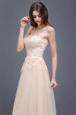 Princess Lace-Appliques Strapless Floor-Length Champagne  Evening Dress_3