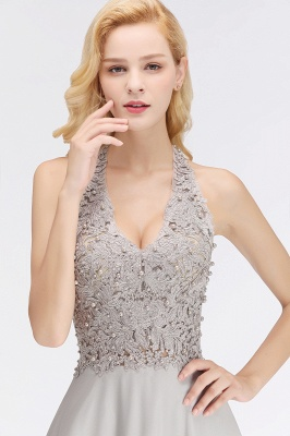 Cheap A-line Halter Chiffon Lace Bridesmaid Dress with Beadings in Stock_12