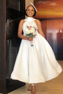 Tea Length A-line Sleeveless Elegant Bridesmaid Dresses | Affordable Maid of Honor Dresses_4