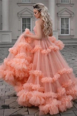 Sleeveless Tulle Ruffles Spaghetti Straps Sexy Coral Prom Dresses   Gorgeous Long Evening Dresses_1
