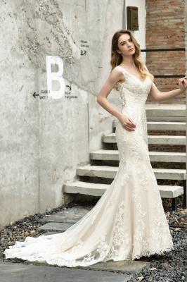 Glamorous Floor Length Open Back Mermaid Lace Wedding Dresses_8