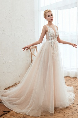 Round Neckline Sleeveless A-line Lace Up Sweep Train Lace Appliques Wedding Dresses_14