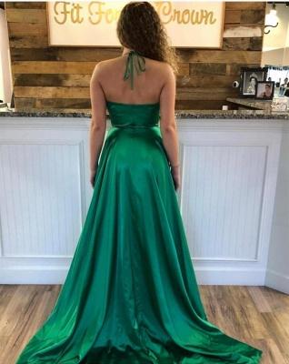 Silky A-line Spaghetti Straps Deep V-neck Royal Blue Prom Dresses with a Leg Slit_7