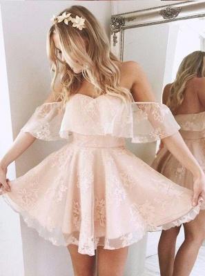 Cute Pink Homecoming Dresses Off-the-Shoulder Short Graduation Dress_2