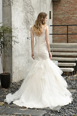 Gorgeous Floor Length Tulle Appliques Mermaid Wedding Dress_3