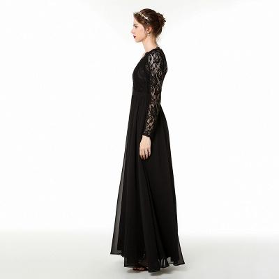 V-neck Long Sleeves Floor Length Lace Prom Dresses | Long Black Evening Dresses_5