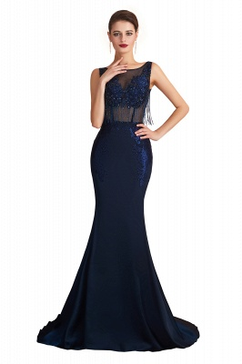 Bateau Backless Beaded Sexy Long Mermaid Prom Dresses | Glamorous Floor Length Evening Dresses_1