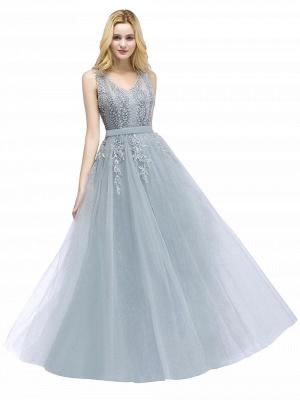 Stylish V-neck Tulle Lace Long Evening Dress On Sale_1